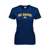 Ladies Navy T Shirt-Arched UC Davis Logo