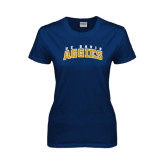 Ladies Navy T Shirt-Arched UC Davis Aggies