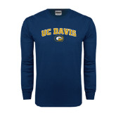 Navy Long Sleeve T Shirt-Arched UC Davis Logo