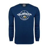 Navy Long Sleeve T Shirt-Basketball Arched