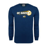 Navy Long Sleeve T Shirt-Soccerball with Flying Ball