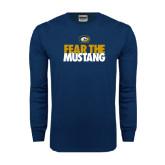 Navy Long Sleeve T Shirt-Fear The