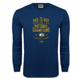 Navy Long Sleeve T Shirt-Back-to-Back Division 1AA National Champions Mens Rugby