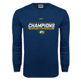 Navy Long Sleeve T Shirt-2016 Division 1 National Champions Womens Rugby