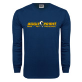 Navy Long Sleeve T Shirt-Aggie Pride w/ Tagline