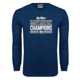 Navy Long Sleeve T Shirt-Big West Conference 2017 Regular Season Womens Basketball Champions Stacked