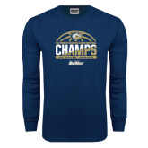 Navy Long Sleeve T Shirt-Big West Conference 2017 Regular Season Womens Basketball Champs