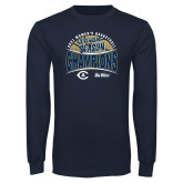 Navy Long Sleeve T Shirt-UC Davis 2021 Womens Basketball 5X Regular Season Champions