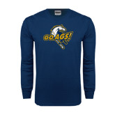 Navy Long Sleeve T Shirt-Go Ags Logo