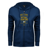 ENZA Ladies Navy Fleece Full Zip Hoodie-Back-to-Back Division 1AA National Champions Mens Rugby