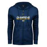 ENZA Ladies Navy Fleece Full Zip Hoodie-2016 Division 1 National Champions Womens Rugby