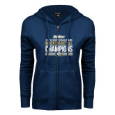 ENZA Ladies Navy Fleece Full Zip Hoodie-Big West Conference 2017 Regular Season Womens Basketball Champions Stacked