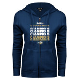 ENZA Ladies Navy Fleece Full Zip Hoodie-Big West Mens Basketball Tournament Champions