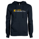 ENZA Ladies Navy Fleece Full Zip Hoodie-College of Agricultural and Environmental Sciences