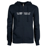 ENZA Ladies Navy Fleece Full Zip Hoodie-School of Medicine