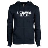 ENZA Ladies Navy Fleece Full Zip Hoodie-UC Davis Health