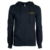 ENZA Ladies Navy Fleece Full Zip Hoodie-UC DAVIS