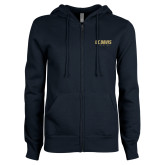 ENZA Ladies Navy Fleece Full Zip Hoodie-Primary Athletics Mark