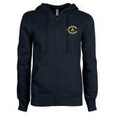 ENZA Ladies Navy Fleece Full Zip Hoodie-Secondary Athletics Mark