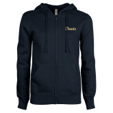 ENZA Ladies Navy Fleece Full Zip Hoodie-Script Davis