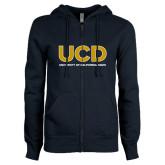 ENZA Ladies Navy Fleece Full Zip Hoodie-UCD Mark with School Name