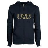 ENZA Ladies Navy Fleece Full Zip Hoodie-UCD Mark
