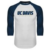 White/Navy Raglan Baseball T Shirt-Primary Athletics Mark