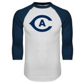 White/Navy Raglan Baseball T Shirt-Secondary Athletics Mark