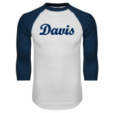 White/Navy Raglan Baseball T Shirt-Script Davis