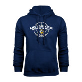 Navy Fleece Hoodie-Basketball Arched