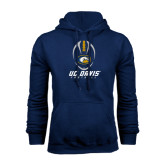 Navy Fleece Hoodie-Football Vertical