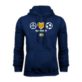 Navy Fleece Hoodie-Soccerball Just Kick It