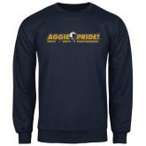 Navy Fleece Crew-Aggie Pride w/ Tagline
