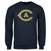 Navy Fleece Crew-Secondary Athletics Mark