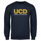 Navy Fleece Crew-UCD Mark with School Name