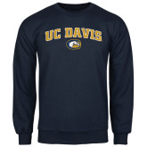 Navy Fleece Crew-Arched UC Davis Logo