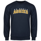 Navy Fleece Crew-Arched UC Davis Aggies