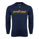 Under Armour Navy Long Sleeve Tech Tee-Aggie Pride w/ Tagline