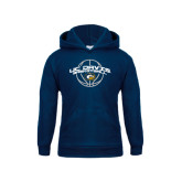 Youth Navy Fleece Hood-Basketball Arched
