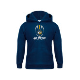 Youth Navy Fleece Hood-Football Vertical