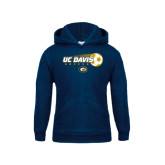 Youth Navy Fleece Hoodie-Soccerball with Flying Ball