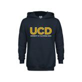 Youth Navy Fleece Hoodie-UCD Mark with School Name