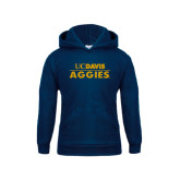 Youth Navy Fleece Hood-UC DAVIS Aggies