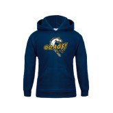 Youth Navy Fleece Hood-Go Ags Logo