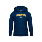 Youth Navy Fleece Hoodie-Arched UC Davis Logo