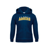 Youth Navy Fleece Hood-Arched UC Davis Aggies