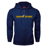 Navy Fleece Full Zip Hoodie-Aggie Pride