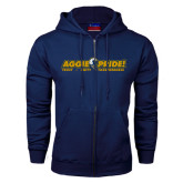 Navy Fleece Full Zip Hoodie-Aggie Pride w/ Tagline