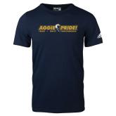 Adidas Navy Logo T Shirt-Aggie Pride w/ Tagline