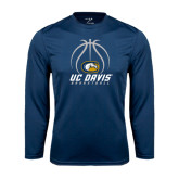 Performance Navy Longsleeve Shirt-Basketball Stacked